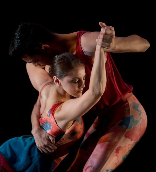 man dipping a female dancer