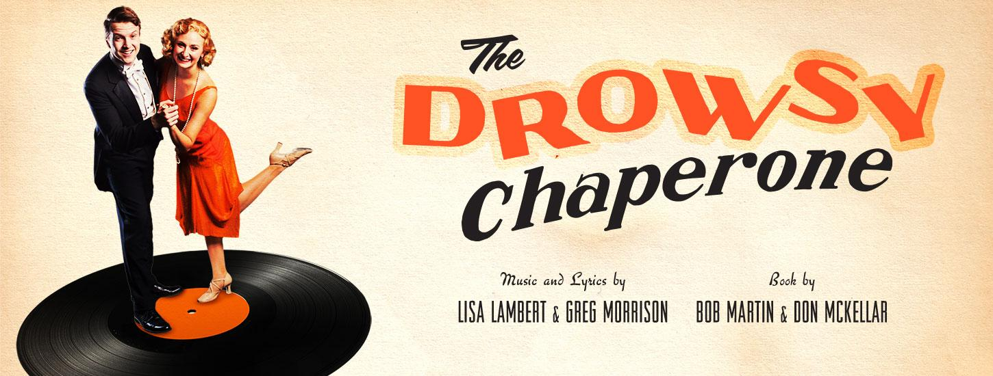 man and a woman dancing on top of a record holding hands the drowsy chaperone