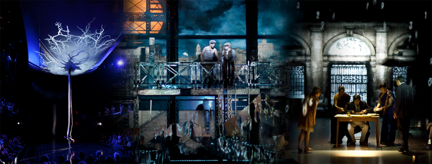 updated banner graphic with newsies and a midsummer nights dream projections