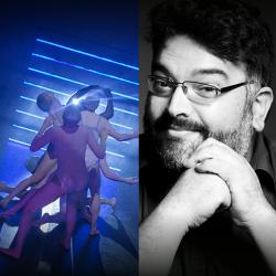 an image of dancers in full body suits moving in a group, washed in blue light next to a black and white image of Rudy Ramirez with glasses, dark hair and a beard