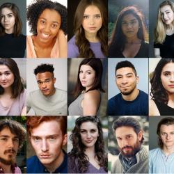 series of headshots of actors in The Crucible