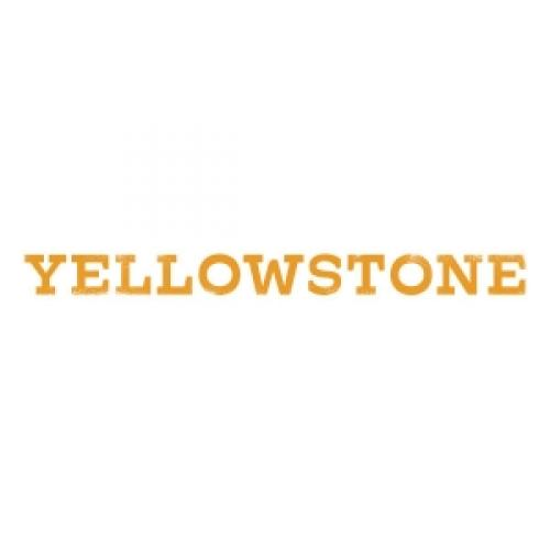 """white logo with the word """"YELLOWSTONE"""" in yellow"""