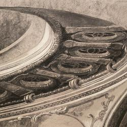 MGM Hollywood backdrop architectural detail charcoal value study