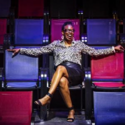 lisa thompson sitting in chairs at grounfloor theatre