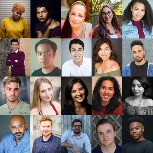 headshots for 20 actors, organized with five across and four down