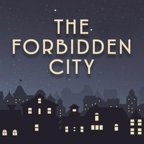 """animated graphic of a city skyline at night with the words """"The Forbidden City"""" layered over it"""