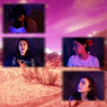 four actresses perform remotely, their Zoom squares layered over a pink desert scene